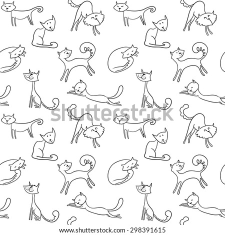 Line art doodle cats seamless pattern - stock vector