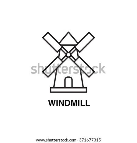 Line art flat design of windmill. Wheat factory logo concept. - stock vector