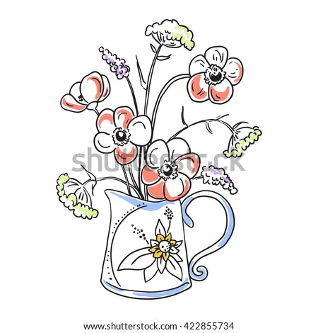 Floral Composition In Rustic Vase Graphic Drawing With Flowers Branch And