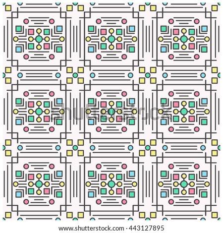 Line art geometrical seamless pattern - stock vector