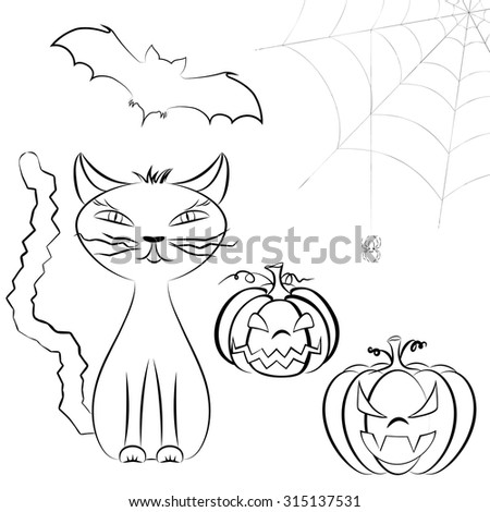 Line art Halloween vector set of cute cat, Jack O'Lantern, bats and spider on cobweb isolated on white. Halloween characters set - stock vector