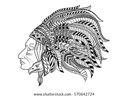 Line art hand drawing black red indian isolated on white background doodle style tatoo