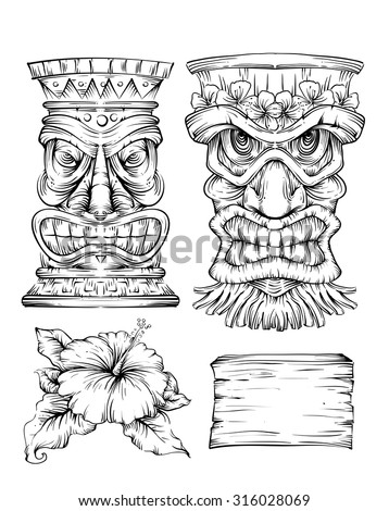 Line Art Illustration Featuring Different Polynesian Elements - stock vector
