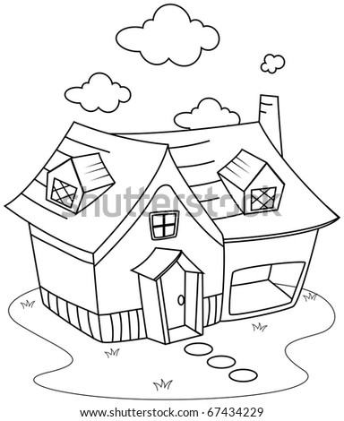 Line Art Illustration Of A Cute Little House Coloring Page