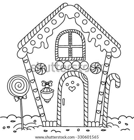 Line Art Illustration Gingerbread House Coloring Stock Vector