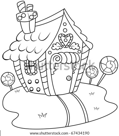 Line Art Illustration Gingerbread House Coloring Stock Vector HD ...