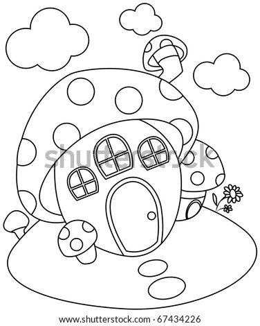 Line Art Illustration Of A Mushroom Shaped House Coloring Page