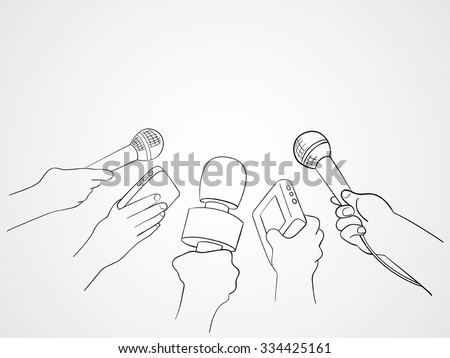 Line art illustration of hands holding microphones and recorders, journalism symbol - stock vector