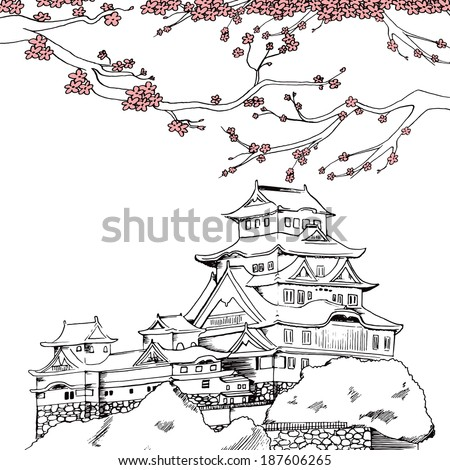 Line art illustration of Japanese Himeji castle at spring with pink sakura cherry blossom flowers