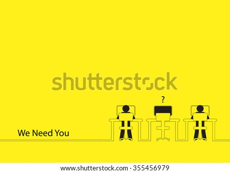 Line art illustration of two people working on the computers with one empty desk. Job vacancy, new recruitment, trainee, occupation, job search theme - stock vector