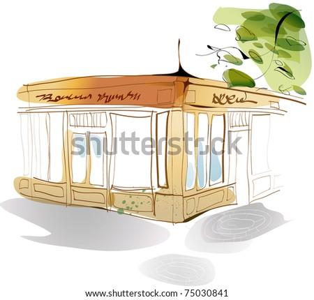 Line Art Landscape - stock vector