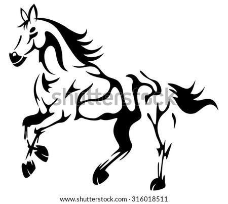 line art of a running horse - stock vector