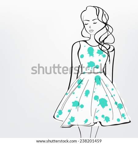 Line art of a young girl wearing stylish green clothes.  - stock vector