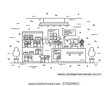 Line art parcel pick-up (package claim window, package pick up) flat minimal outline vector illustration. Line art design package area. Parcel service line art creative concept. Line art picture.  - stock vector