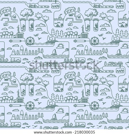 Line art rural landscape seamless pattern