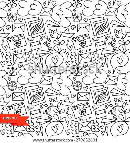 Line art seamless pattern. Vector doodle background with letters, hearts and other cute details. Black and white decorative graphic texture