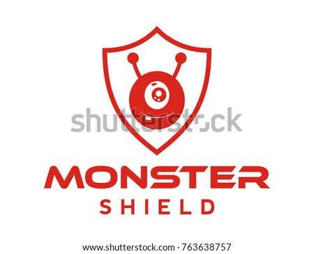Line Art Shield Protection Cute Monster Stock Vector 763638757