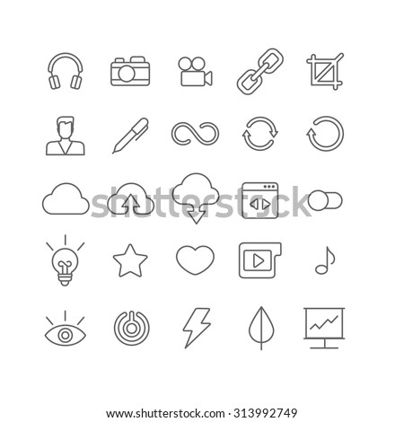 Line art style flat graphical set of web site mobile interface app icons. Music headphones camera video link crop user profile edit loading reload cloud upload download. Lineart world collection. - stock vector