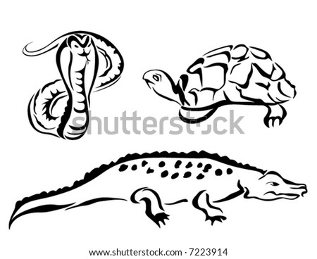 Line Art Vector Animal Series: Reptiles - stock vector