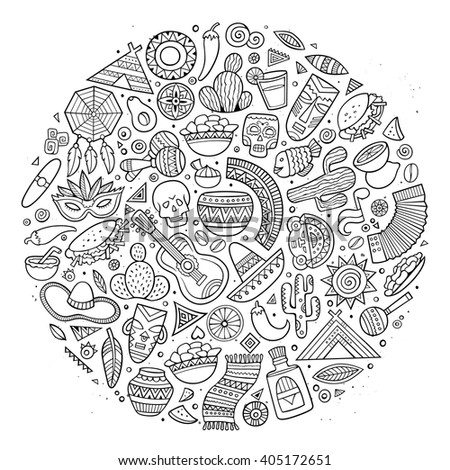 Line art vector hand drawn doodle cartoon set of Latin American objects and symbols. Round design