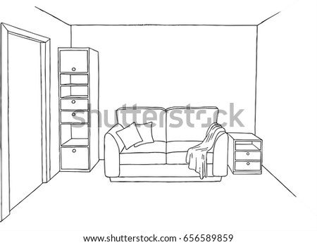 Line Art Vector Interior Of A Living Room Sofa With Pillows And Rug