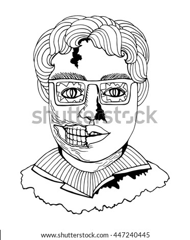Line art zombie man face in comic sketch style, black contour isolated on white background vector.