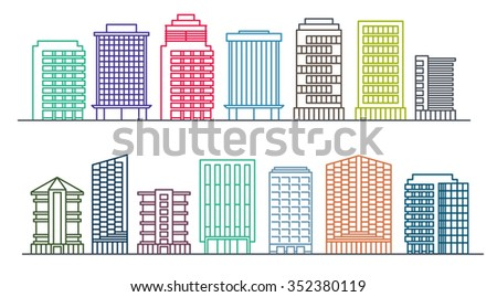line background of the city, vector cityscape collection - stock vector