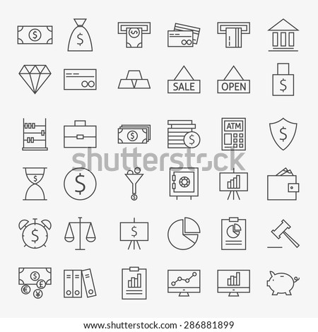 Line Banking Money and Finance Icons Big Set. Vector Set of 36 Line Art Modern Icons for Web and Mobile. Bank and Banking. Money and Finance Items. Business Marketing and Shopping Objects. - stock vector