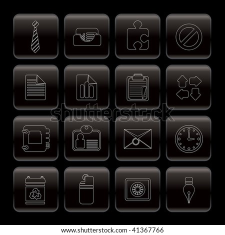 Line Business and Office Icons - Vector Icon Set - stock vector
