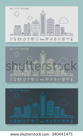 Line cityscape skyline with various parts of a city: small towns or suburbs and downtown buildings. Danners collection in line style - stock vector
