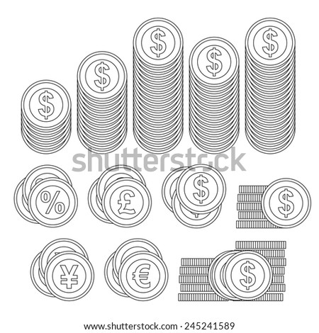 line craft coin stacks and symbols - stock vector