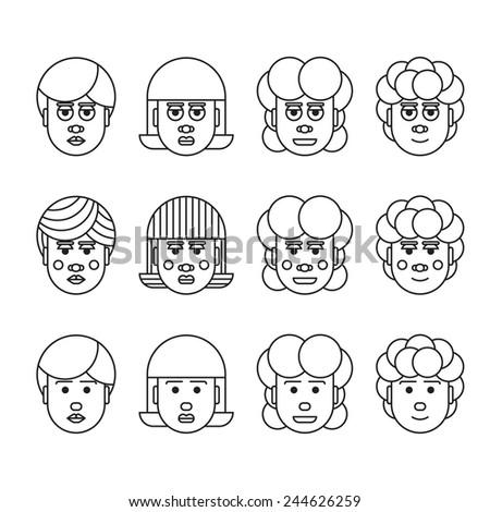 line craft female head set - stock vector