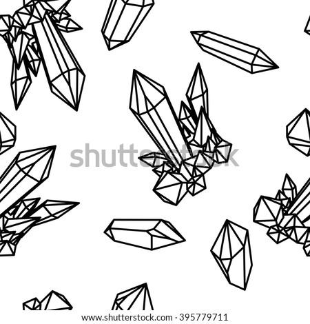 Line crystal seamless pattern. Black outline seamless pattern. Black crystals on black. Seamless pattern with Black crystals. Diamond seamless pattern. White crystal seamless pattern, Seamless pattern - stock vector