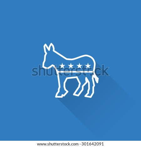 Line Democrat Party Donkey Symbol - stock vector