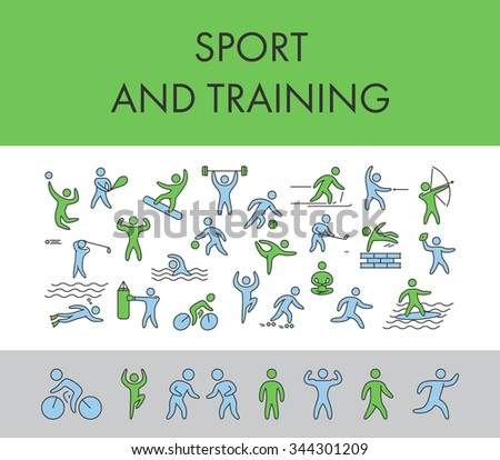 Line design concept horizontal banner for sport and training. Vector figure athletes, popular sports