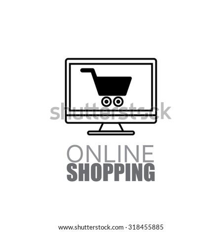 line design online shopping using laptop and internet vector icon - stock vector