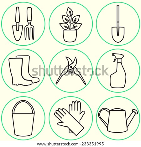 Line design set of gardening tool icons isolated on white background. - stock vector