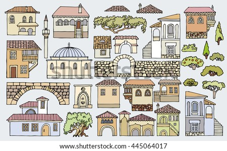 Line drawingcityscape elements vector sethand drawn stock for List of different house styles