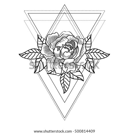 Line Drawing Of A Beautiful Rose On Abstract Geometric Background Vintage Bohemian Style