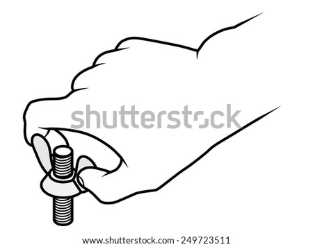 Line drawing of a human male hand turning a wing nut on a bolt.