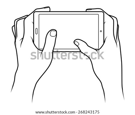 Line drawing of a pair of human male hands holding a large smartphone / phablet or small tablet.