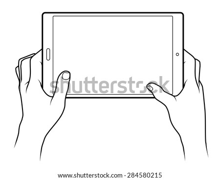 Line drawing of a pair of human male hands holding a large tablet. - stock vector