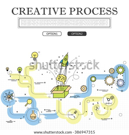 line drawing of concept of creative process vector graphic. also represents creativity, innovation, inventiveness, etc to be used web banners and as printed materials - stock vector