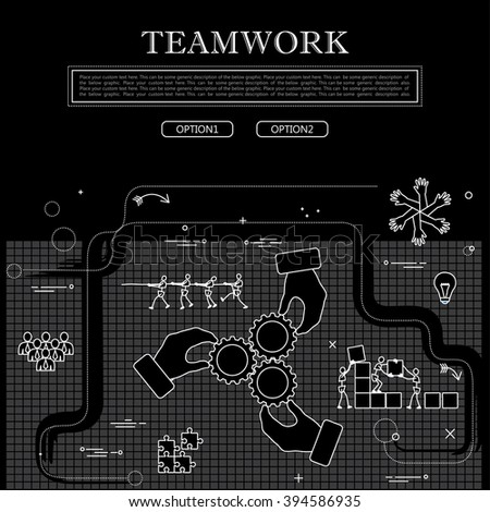 line drawing of concept of team & teamwork vector graphic in black & white. also represents concepts like unity and solidarity, employees & workers etc to be used web banners and as printed materials