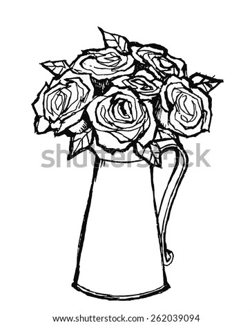 Line Drawing Roses On Vase Stock Vector Royalty Free 262039094