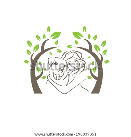Line drawing of the dog and women under the tree - stock vector