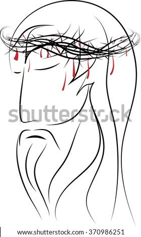 Line drawing of the head of Jesus Christ, passion of Christ, suffering man. Simple abstract vector drawing. - stock vector