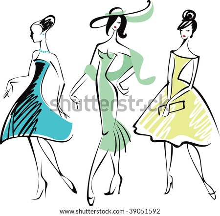 Line drawing of three fashionably dressed woman - stock vector