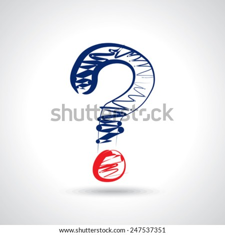 line drawing question mark - stock vector