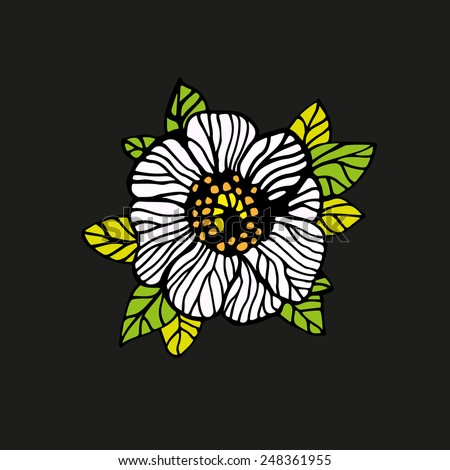 Line drawing white rose black background. - stock vector